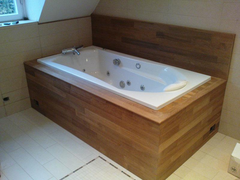 pose caisson en bois pour baignoire