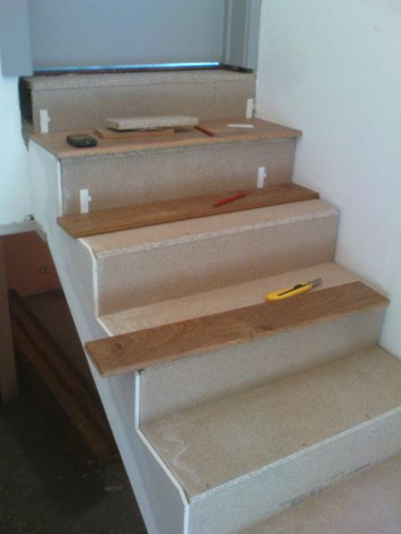 préparation des escaliers